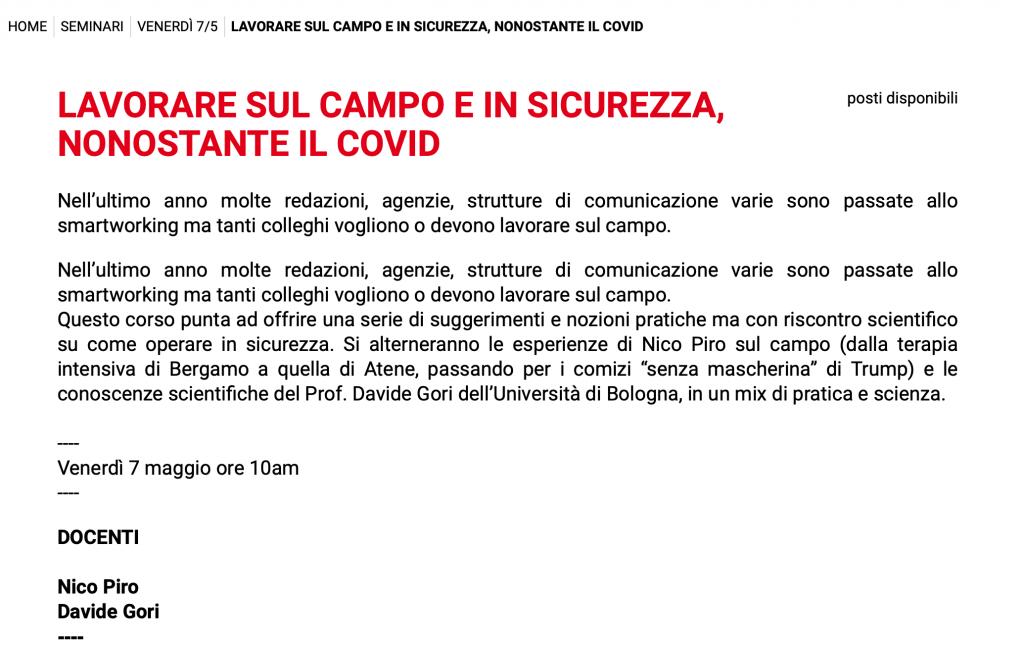 Mojo Italia Seminario Sicurezza e Covid